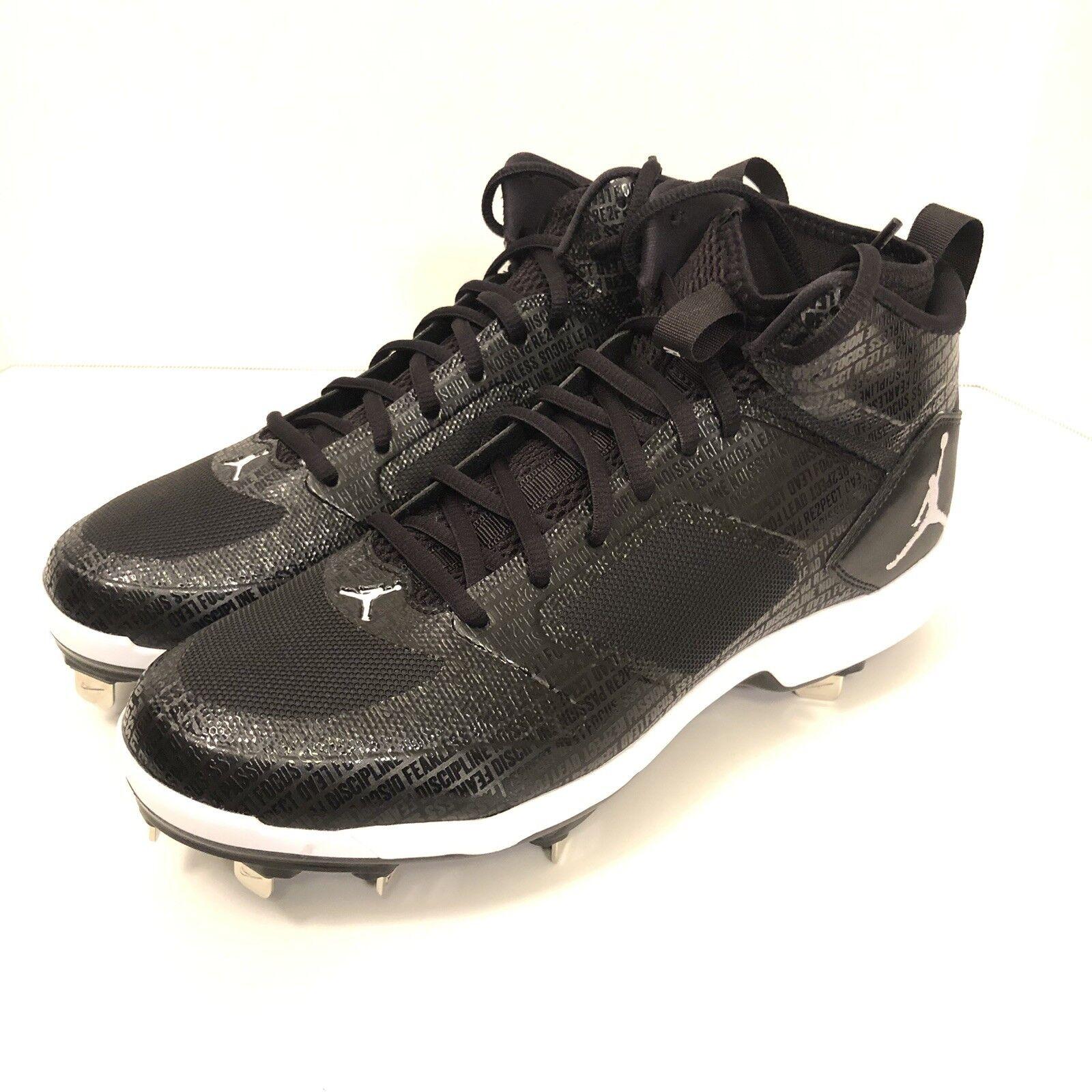 Nike Air Jordan Jeter Black Baseball Cleats Re2pect Mens Size 8.5 AO2914-002 New