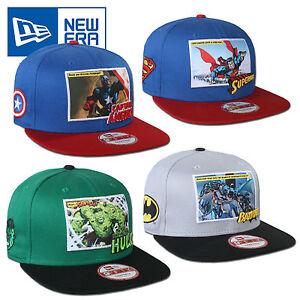 NEW-ERA-SNAPBACK-MARVEL-DC-COMICS-SUPERMAN-HULK-BATMAN-CAPTAIN-AMERICA-S-M-M-L