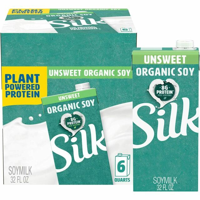 Pack of 6 32-Ounce Aseptic Cartons Silk Unsweetened Organic Soymilk