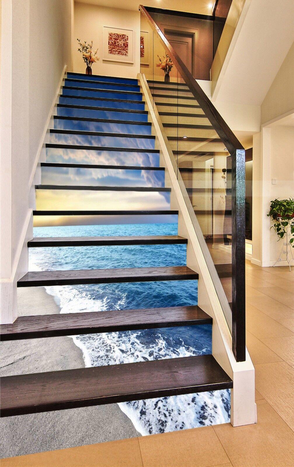 3D Netter Strand 02 Stair Risers Dekoration Fototapete Vinyl Aufkleber Tapete DE