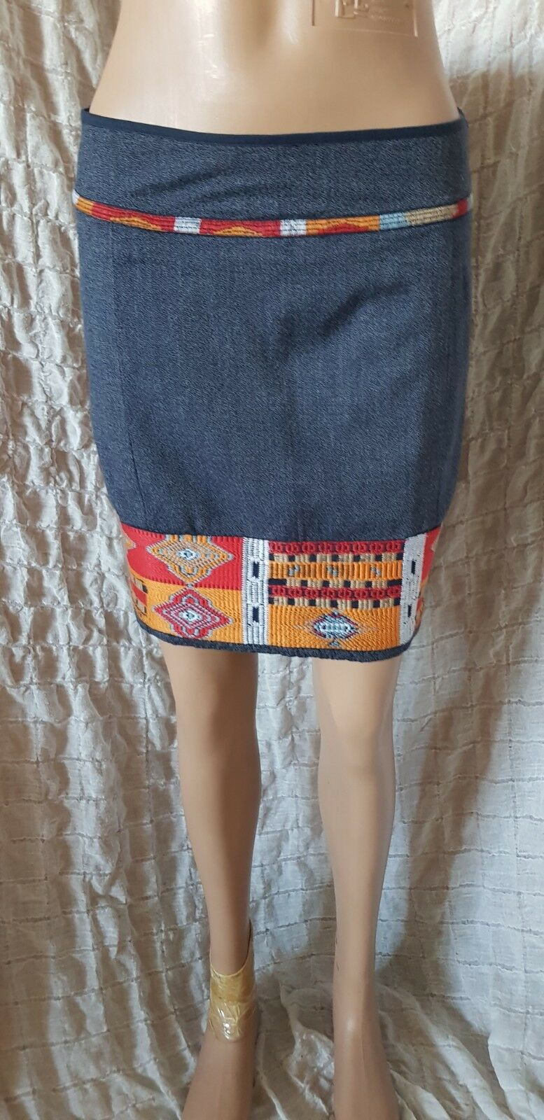Peruvian Connection bluee embroidered cotton mini skirt size 8 UK