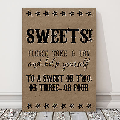 A4 Sweet Candy Table Sign for Wedding Party Eco Card BUY 2 GET 1 FREE LL