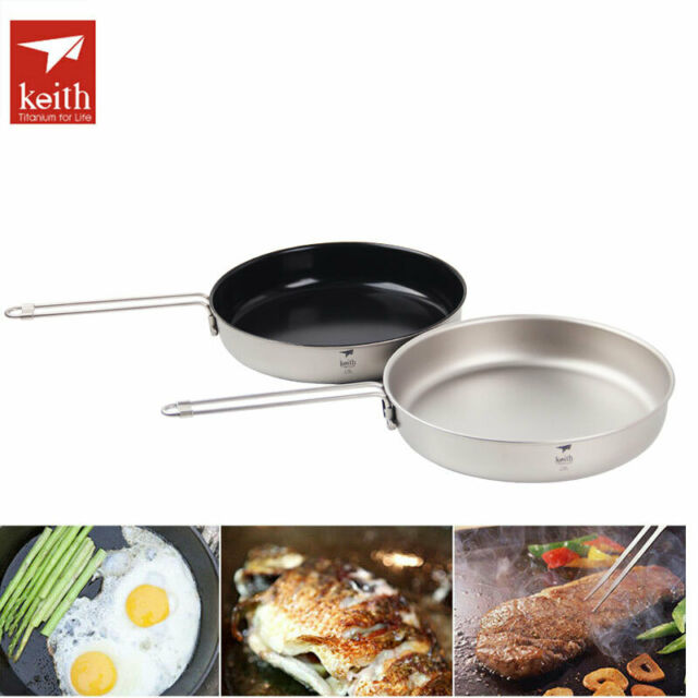 Keith Folding Titanium Pan Non-stick Fry Frying Pan Camping Cookware Pot Ti8150