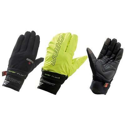 WATERPROOF CYCLE WINTER GLOVE GLOVES Black Yellow with Rain Cover Chiba Express