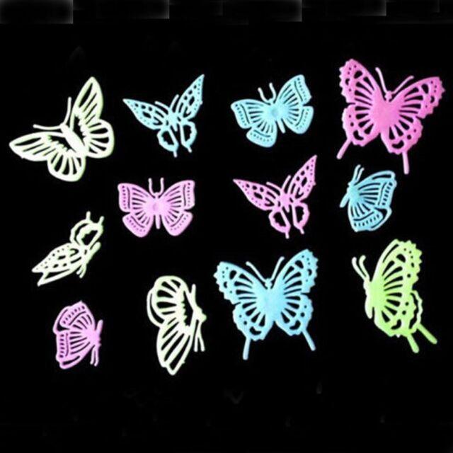 Hot 12 Pcs Glow in the Dark Butterfly sticker Fluorescent Wall Art party Decor c