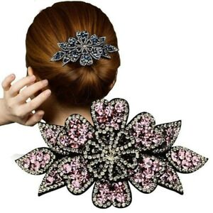 Women-039-s-Flower-Hair-Clips-Pins-Slide-Ponytail-Crystal-Hair-Claw-Accessories-Show