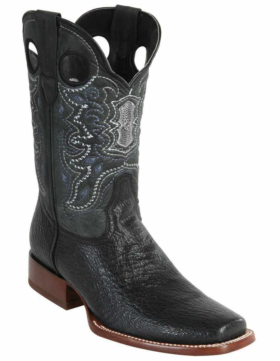 WILD WEST BLACK GENUINE SHARK COWBOY BOOT RODEO-SQUARE-TOE (EE+)