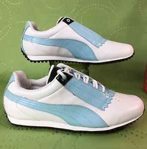 NEW! PUMA PIN CAT white baby blue SPIKELESS golf shoes . eu40.5 ... 1b9fe572a