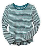 Gap Kids Girls S 6-7 Years Teal Striped Cotton Long Sleeve Shirt