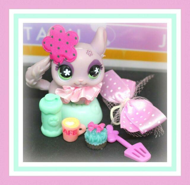 ❤️Authentic Littlest Pet Shop LPS #630 Purple Flower Eyes Chinchilla Accessory❤️