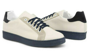 MADRID-Men-039-s-Leather-Sneakers-Shoes-in-Ivory-White-Made-in-Italy-New