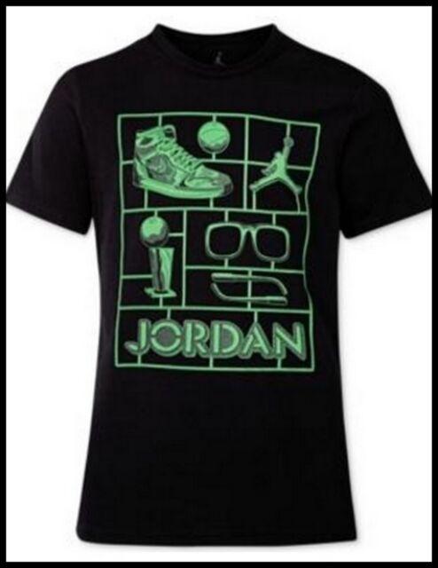 31aff879c3e4 NEW Jordan Graphic Sneaker Print Cotton T-Shirt Big Boys L Black Green  Basketbll