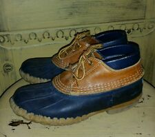 VINTAGE LL BEAN LADIES SHORT DUCK BOOTS NAVY LEATHER RUBBER HUNTING 6 M USA