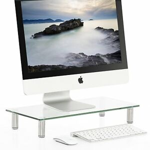Glass Computer Monitor Stand Tv Screen Display Riser Clear