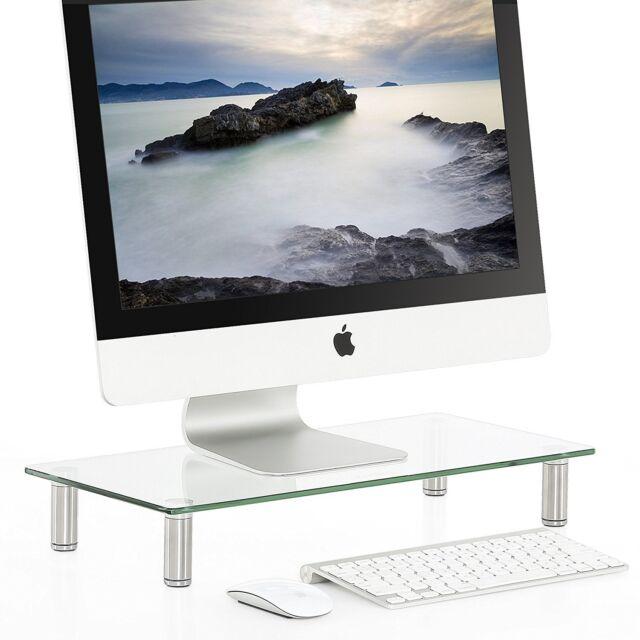 Fitueyes Clear Computer Monitor Riser Glass Metal Tall Laptop Tv Desktop Stand