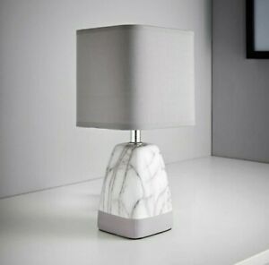 30cm  Luxhury Marble Effect Table Bedside Lamp/Light Grey/ UK Stock