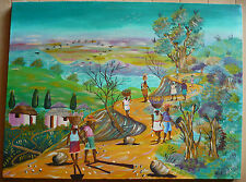 MICHEL LOUIS, COLLECTIBLE HAITI HAITIAN ARTIST FOLK OIL LANDSCAPE MODERNISM MOD