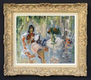 RAYA SAFIR (1909-2004) PEINTURE FAUVISTE FEMME DANS LE JARDIN 1950 (69)