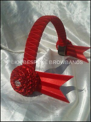 """New Red and White Velvet Showing Browband pony cob full size 3//4/"""" OR 1/"""" wide"""