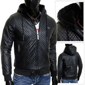 Cipo & Baxx Winter Bomber Jacket Hooded Eco Leather ...