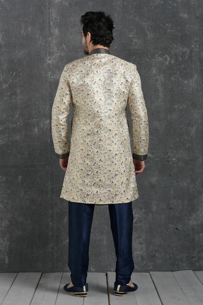Mens Designer Bollywood Traditional Wear Pakistani Boys Wear Semi Indo Western