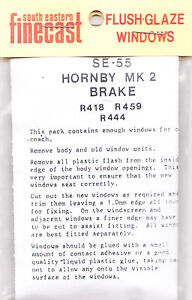 South Eastern Finecast SE55 Flush Glazing Kit for Hornby MK2 Brake Coach 00 1st