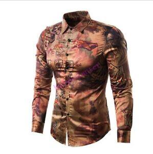 166e46c25dff Mens Long Sleeve 3D Floral Printing Shirt Retro Fashion Slim Jacket ...