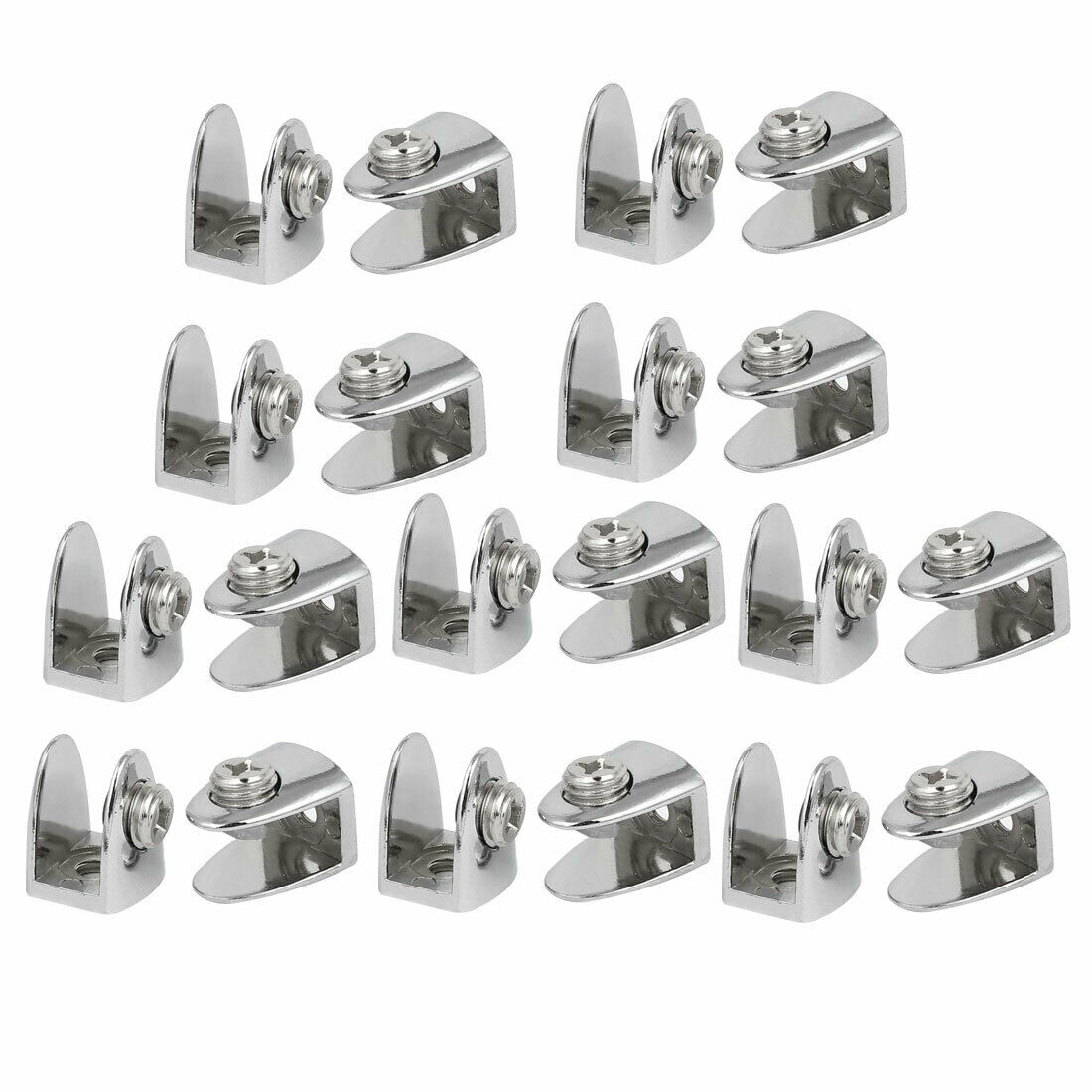 6mm-9mm Thickness Alloy Semi-Circle Shape Glass Shelf Clamp Clip Support 20pcs