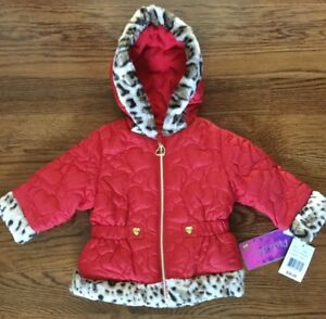 c73b5690c NWT PISTACHIO GIRLS COAT SIZE 18 MONTHS RED QUILTED HOODED JACKET ...
