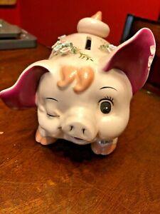 HTF Vintage Napco Japan Blinkey Pig Ceramic Bank, Hand Painted
