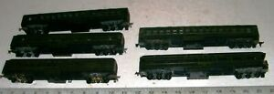 5-X-Vintage-HO-1930-039-s-Heavy-Weight-6-Wheel-Athearn-SANTA-FE-Passenger-Train-Set