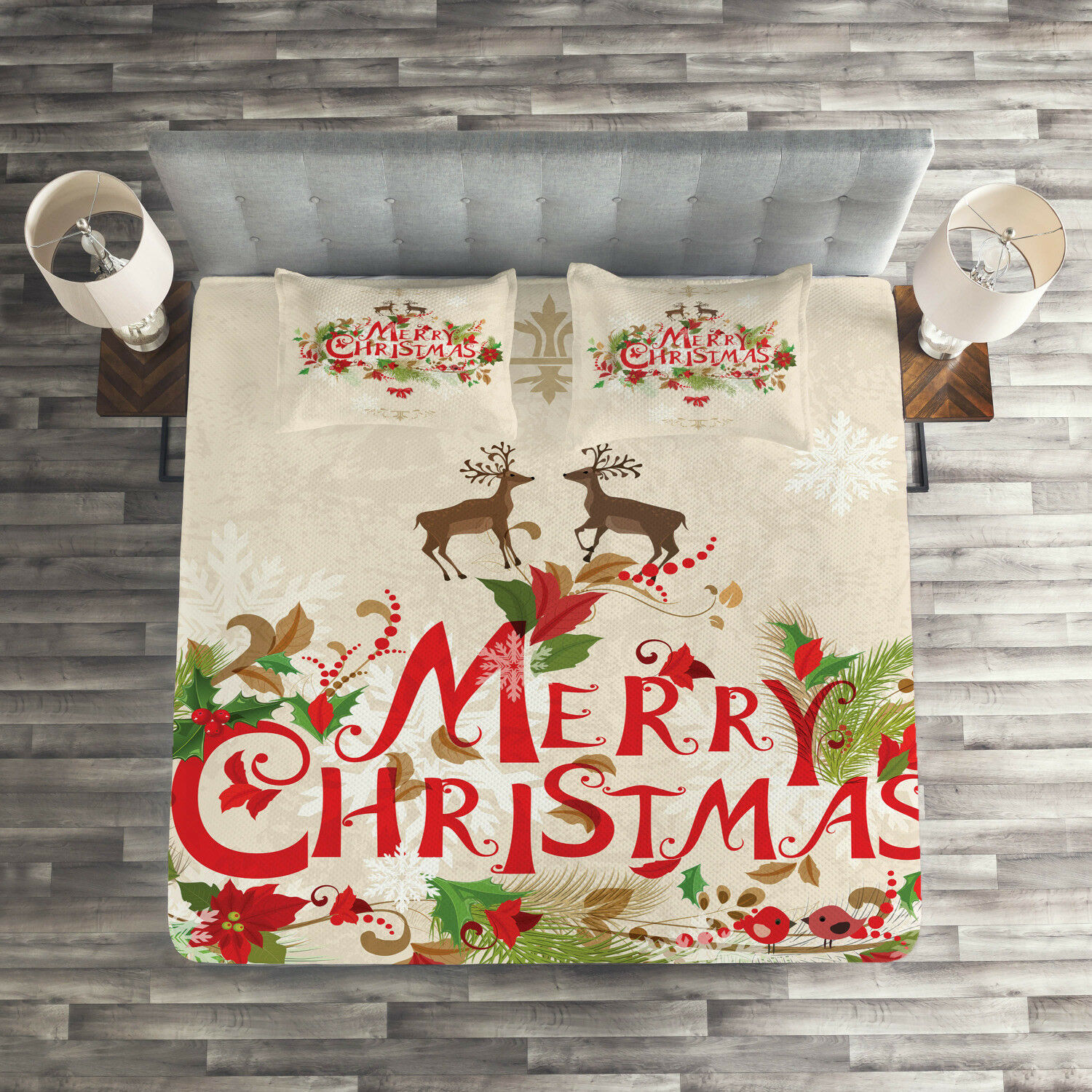 Christmas Quilted Coverlet & Pillow Shams Set, Floral Merry Xmas Print