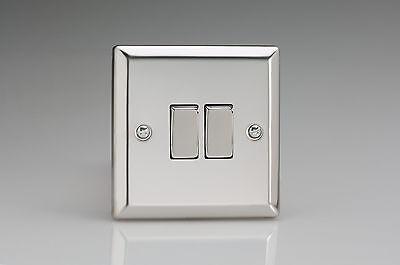 Varilight Decorative 2-Gang 10A 1 or 2-Way Rocker Switch European Premium White