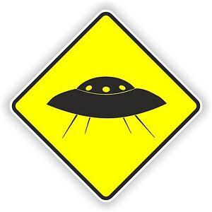 1x-UFO-warning-sticker-car-bumper-decal-caution-yellow-alien-U-F-O-space-nasa