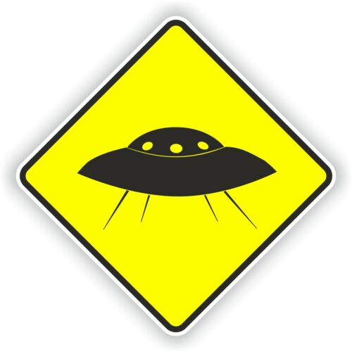 espace NASA 1x autocollant D/'avertissement UFO pare-chocs Autocollant prudence jaune Alien Ovni