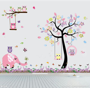 Image Is Loading Owl Elephant Flower Tree Butterfly Wall Stickers Decor