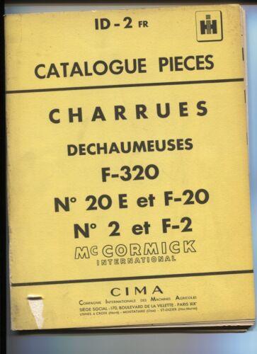 Mc Cormick ;catalogue pièces charrues dechaumeuses   janvier 1958 ID-2  FR