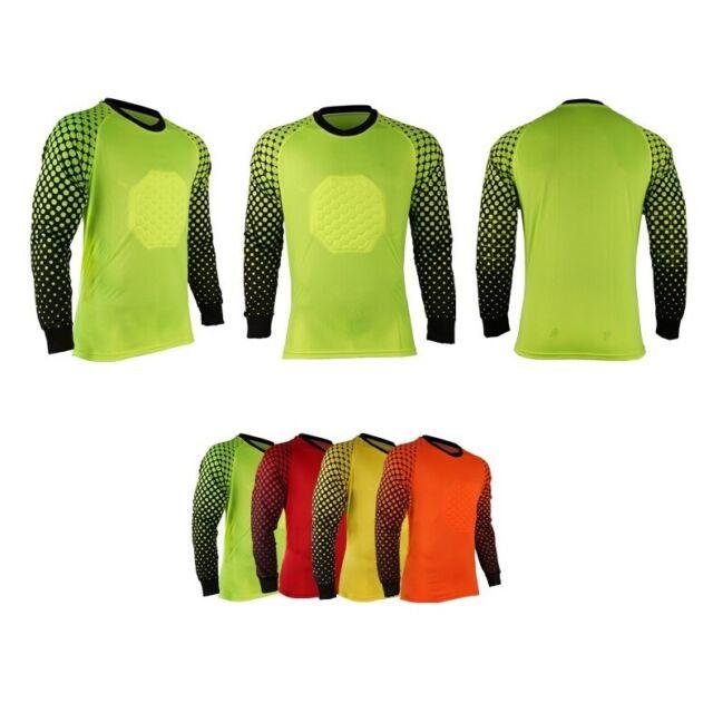 Mens Soccer Goalkeeper Jersey Top Goalie GK Long Sleeve Shirt /& Elbow Pads New