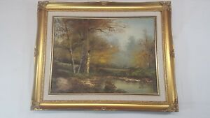 M-Hill-Wooded-Landscape-Oil-Canvas-Painting-In-Frame-Size-20-1-2-034-X-16-1-2-034