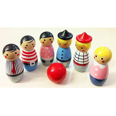 Wooden Bowling Set, 6 Little People 1 Bowl, Family Design,7.5cm H,RRP $14.99