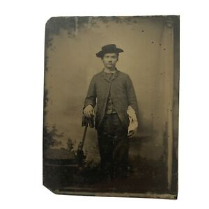 Antique Early Tintype Photograph Young Man Cowboy Hat White Handkerchief Pocket