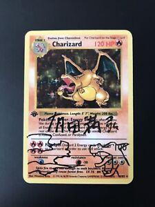 Pokemon Charizard Base Set Shadowless 1st Edition Rikid?zan Arita Signed proxy