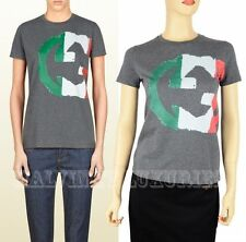 GUCCI TOP ITALY GG FLAG COLLECTION T-SHIRT COTTON JERSEY INTERLOCKING LOGO sz XS