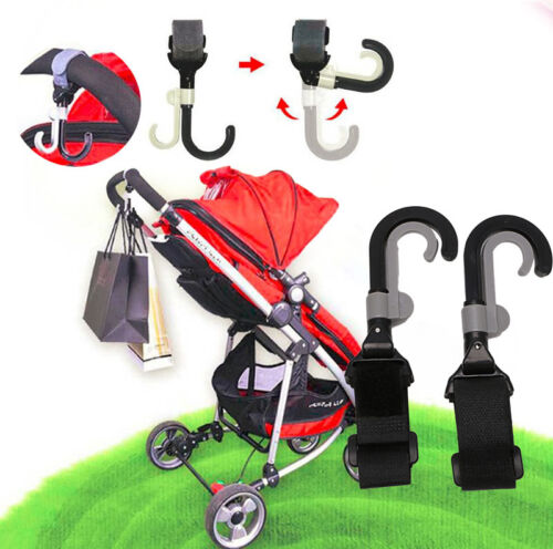 2PCS//Set Baby Stroller Hook Holder Pram Double Rotate Hook Pushchair Hanger HOT