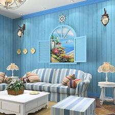 Self-adhesive Wood Strip Mediterranean Wallpaper Sticker Roll Sheet Home Decor Y