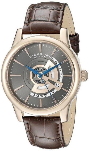 Stuhrling 787 04 787.04 Symphony Quartz Brown Leather Strap Date Mens Watch