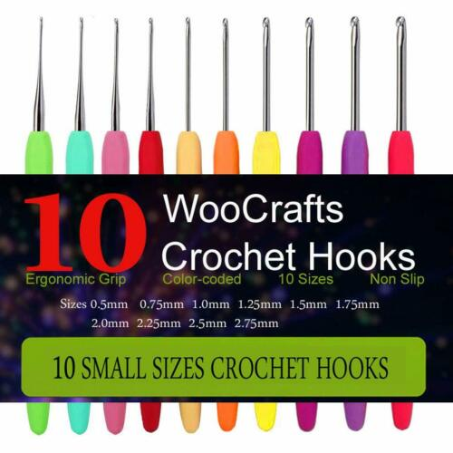 10 Small Size Steel Crochet Hook Set Thread Crochet Lace Hooks Ergonomic Handle
