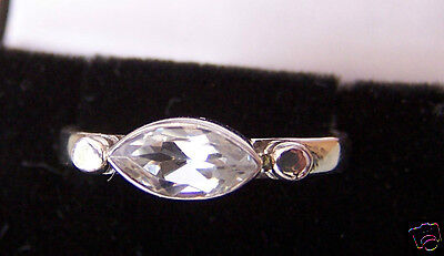 STERLING SILVER MARQUISE CUT CUBIC ZIRCONIA RING SIZE O½ US7½
