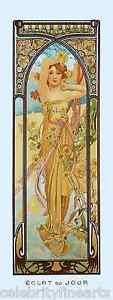 5 Prints Alphonse Mucha Art Nouveau Times of Day Night ...