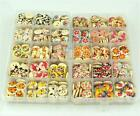 25X Mix Colorful Printed Wood Round Children Cute Cartoon Buttons Press Stud